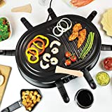 Quest 35909 Raclette Grill 8 Person Set with Pans for Cheese & Spatulas Electric Cooker Machine with Adjustable Temperature, 1200 Watt, Black