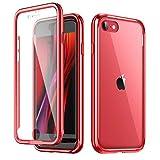 SURITCH Funda iPhone SE 2020 iPhone 7 iPhone 8 Cubierta 360 con Protector de Pantalla Incorporado Chapado Parachoques Delantero y Trasero a Prueba de Golpes Marco de Metal Rojo para iPhone SE 2020