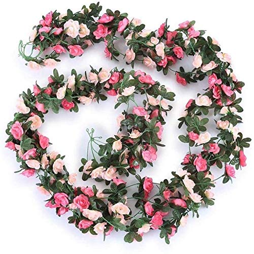 XinYiC Artificial Rose Flower Vine Silk Leaf Garland Rose Vine for Home Hotel Office Wedding Party Garden 2.4m 5pcs