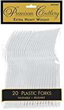 Amscan Party Perfect Reusable Premium Plastic Forks Tableware, Silver, Full Size, Pack of 20