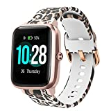 ViCRiOR Bands Compatible with ID205L Veryfitpro Smart Watch, Quick Release Soft Silicone Fadeless Pattern Printed Floral Replacement Band for ID205L, ID205G ID205 ID205U ID205S, Leopard