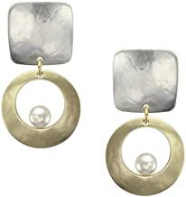 product image for Marjorie Baer Brass Square with Cutout Disc with Suspended Cream Pearl Clip on Earring