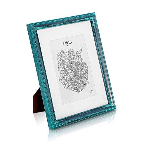 Shabby Chic Cornice 20x25 cm Turchese-Argenta - Passepartout per Foto 13x18 cm Incluso – Vetro temperato - Larghezza della Cornice 2 cm! - Turchese-Argento Antico