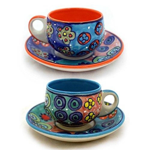 Gall&Zick 4X Espressotasse mit Untertasse Mokkatasse Untersetzer Unterteller Tasse Kaffeetasse Teetasse Geschirr Set Keramik Bemalt Bunt