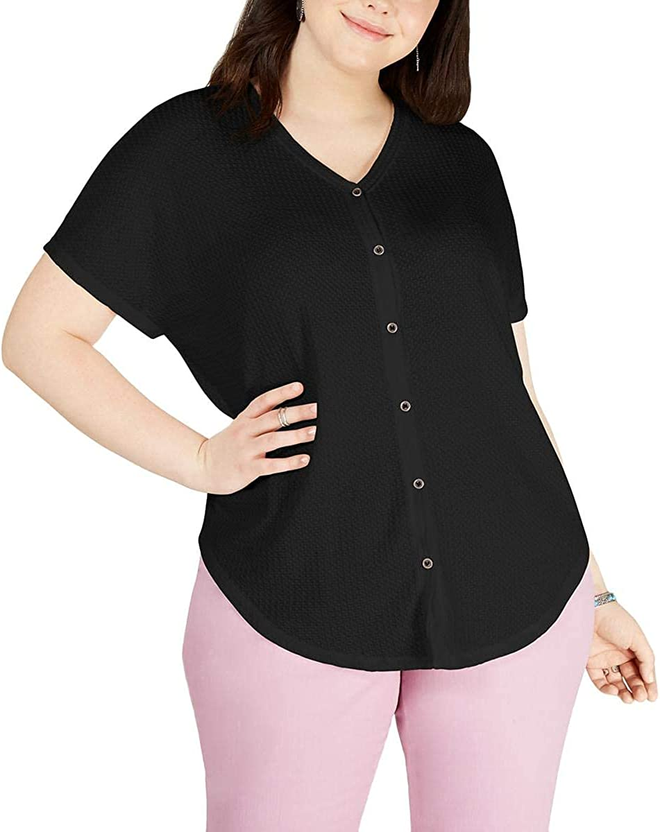 Style & Co. Womens Plus Button-Down Thermal T-Shirt