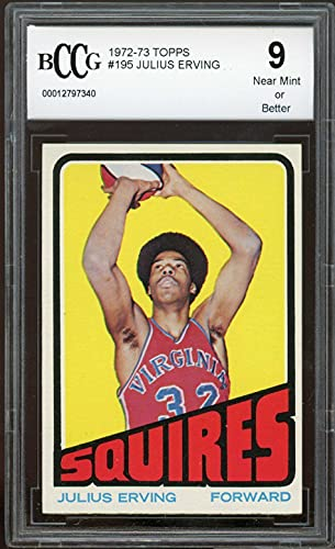 1972-73 Topps #195 Julius Erving Rookie Card BGS BCCG 9 Near Mint+ - Basketball Slabbed Rookie Cards