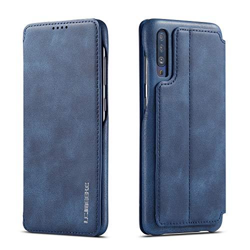 QLTYPRI Hülle für Samsung Galaxy A50, Premium PU Leder Handyhülle Ultra Dünne Ledertasche Magnetverschluss Kartenfach und Ständer Flip Schutzhülle Kompatibel mit Samsung Galaxy A30S A50 A50S - Blau