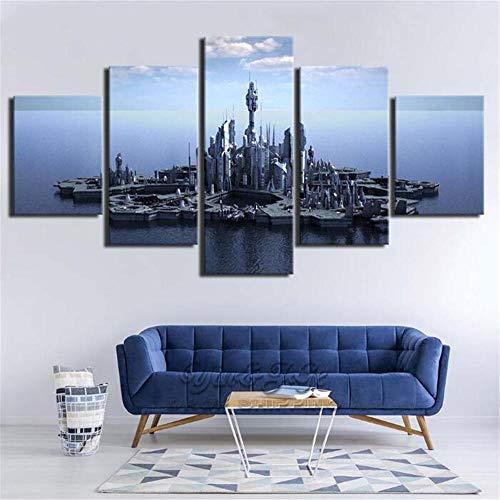 XYZNB Leinwanddrucke 5 Stücke Stargate Atlantis Tv Spielen Poster Bild Wohnzimmer Wandkunst Hd Drucken Dekoration (Größe A) Kein Rahmen