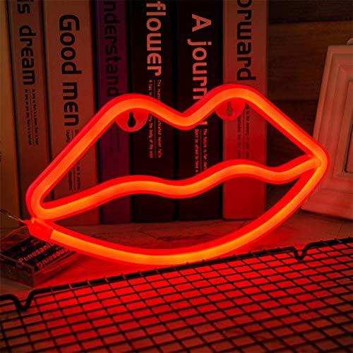 ENUOLI Lip Neon Light Red Sign Neon Lip-Licht-Wand-Lampen-Raum-Dekor-Batterie und USB betriebene LED Neon Lights Red Lip Neon Signs Lampen leuchten für Schlafzimmer der Kinder Bar Party Hochzeit Weih