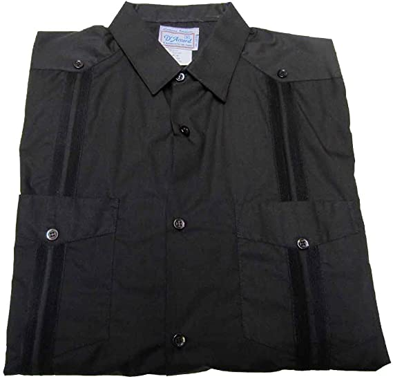 Men/'s Long Sleeve Cuban Retro Casual Shirt Embroidery Black D/'Accord 4519