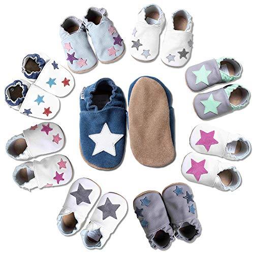 HOBEA-Germany Krabbelschuhe für Jungs und Mädchen in verschiedenen Designs, blau mit weißem Stern, Schuhgröße:18/19 (6-12 Monate)