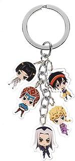 Apehuyuan Anime JoJo's Bizarre Adventure Kawaii Keychain Acrylic Figures Keyring with 5 Dolls for Bags, Keys and Pencil Cases