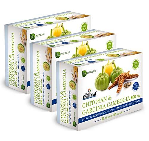 Chitosán + Garcinia 800 mg 60 cápsulas con vitaminas B-1, B-2, B-6 y B-12 (Pack 3 unid.)