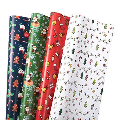 GWHOLE 16 Hojas Navidad Papel para Regalo 76 x 52 cm, Papel de Colores Embalaje Caja Tema Navidad Ideal para Preparar Regalos Arbol Navidad Envolver Cajas de Regalo, Rgalos de Intercambiar -4 Colores