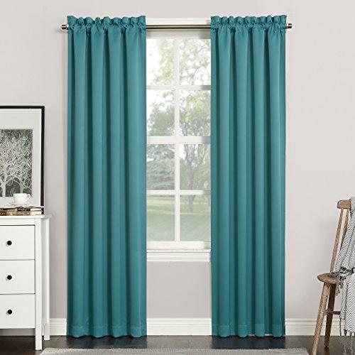 "Sun Zero Easton Blackout Energy Efficient Rod Pocket Curtain Panel, 40"" x 84"", Marine"