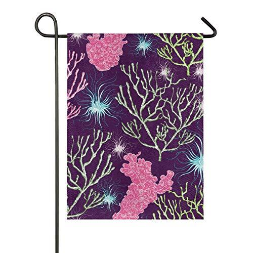 Anwesender Garten-Flaggen-Fahnen-doppelseitiger 12x18 Zoll-Seeozean Marine Plants Coral Seamless Pattern Yard Indoor Outdoor