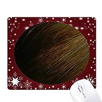 ダークブラウンのストレートな髪のパターン オフィス用雪ゴムマウスパッド