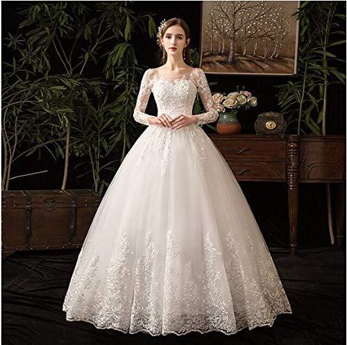 Vestido De Noiva Princesa Romantico Luxo Rendado Manga (OFF WHITE)