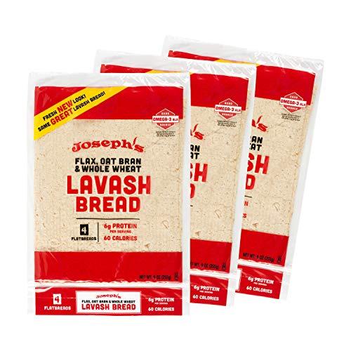 Joseph's Lavash Bread Value 3-Pack, Flax Oat Bran & Whole Wheat