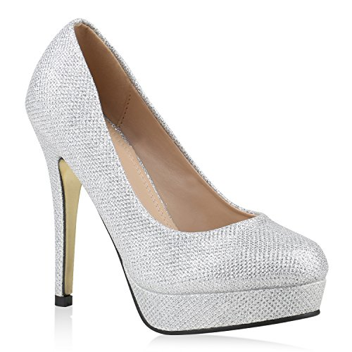 stiefelparadies Damen Plateaupumps mit Stiletto Absatz Schuhe 144595 Silber Gold Autol 36 Flandell