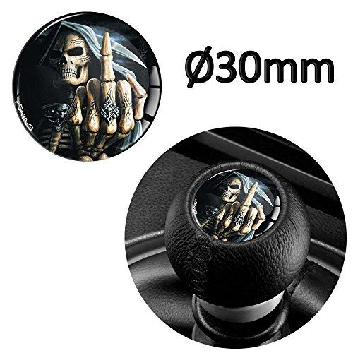SkinoEu® 1 x Schalthebel Aufkleber Schaltknauf Emblem Silikon Sticker Skull Totenkopf Schädel Mittelfinger Durchmesser 30mm Auto Moto Zubehör Motorrad Tuning JDM S 39