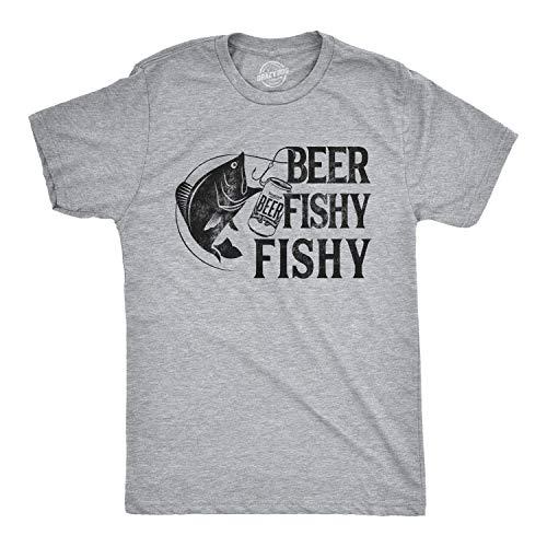 Mens Beer Fishy Fishy T Shirt Funny Fishing Drinking Hilarious Saying Novelty (Light Heather Grey) - L