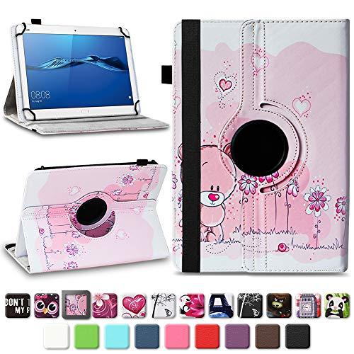 NAmobile Schutzhülle kompatibel für Huawei MediaPad T1 T2 T3 T5 10 Tablet Hülle Tasche Schutzhülle Case 360 Drehbar, Farben:Motiv 1