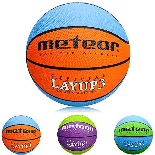meteor Mini Basketball fur Kinder Größe #3 ideal auf die Kinderhände von 4-8 Jährigen abgestimmt idealer Jugend Basketball für weicher Basketball mit griffiger Oberfläche (Blau & Orange - Größe #3)