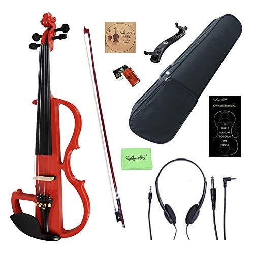 LIUCHUNYANSH Violín Niños Violín para Adultos 4 4 Kit de violín eléctrico silencioso de Madera Maciza de Color Rojo con Accesorios de ébano (tamaño Completo)