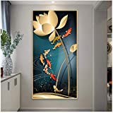 SWXXLY póster Pinturas en Lienzo Cuadros de Peces de Estilo Chino Arte Moderno de la Pared para la decoración de la Sala de Estar Carteles e Impresiones -50x100x1 Sin Marco