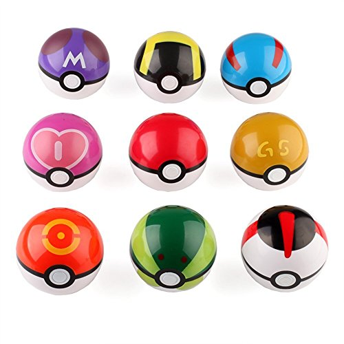 XINPIN100 9 PCS Pokemon Pikachu Pokeball Master Ball Cosplay Super Ball Poke Pokeball+24 Pocket Monster