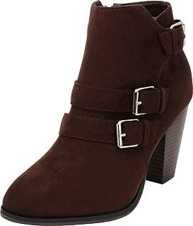 Cambridge Select Women's Buckle Strap Block Chunky Heel Ankle Booties