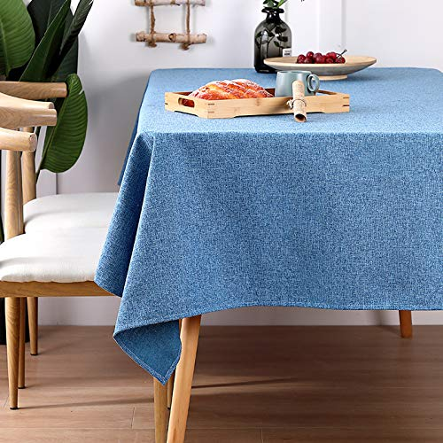 WHDJ Waterproof Tablecloths Flax,Plaid & Solid Color Anti-Wrinkle No-Fade Table Cloth for Home Restaurant Soft 140 X 220cm Table Cover