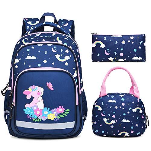 Vbiger Schulranzen Mädchen Teenager Schultasche Kinder Rucksack Daypack 3 Teile Set für Jungen Schule und Freizeit Dunkelblau (Navy blau)