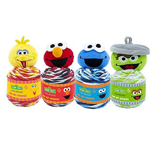(4 Pack) Lion Brand Yarn 3010-999 Sesame Street- One Hat Wonder, 4PK-Big Bird, Elmo, Cookie Monster, Oscar