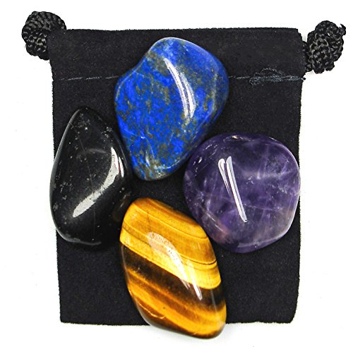 The Magic Is In You Psychic Attack Blocker Tumbled Crystal Healing Set with Pouch & Description Card - Amethyst, Black Obsidian, Lapis Lazuli, and Tiger's Eye