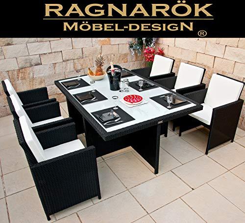Ragnarök-Möbeldesign Gartenmöbel Essgruppe aus PolyRattan in Schwarz | Tisch 6 Stuhl 12 Polster