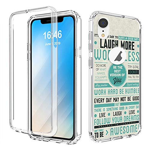 iPhone XR Case,AIRWEE Shockproof Dual Layer Clear Protective Case with Hard PC+TPU Bumper Cover for Apple iPhone XR 6.1 inch 2018,Be The Best Version of You
