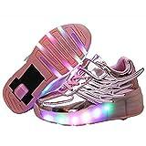 Ehauuo Unisex Kids LED Light up Retractable Roller Skate Sneaker Flashing Wheel Shoes for Girls Boys(1.5 M US Little Kid, A-Pink)