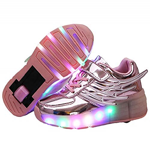 Ehauuo Unisex Kids LED Light up Retractable Roller Skate Sneaker Flashing Wheel Shoes for Girls Boys(3 M US Little Kid, A-Pink)