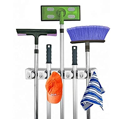 Broom MOP Holder,Multi-purpose Garage Storage Hooks Wall Mounted Organizer Hanger Rack Tool with 5 Position 6 Hooks,Perfect for Garage,Kitchen, Basement or Laundry Room