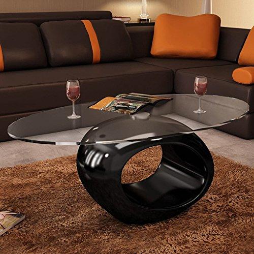 Tidyard Multifuncional Mesa de Centro Mesa de Cristal Mesita de Noche Mesa de Café de Vidrio para Estar o Dormitorio Diseño de Modernidad Vidrio de Seguridad Ovalada 115x65x40cm Negro Brillante