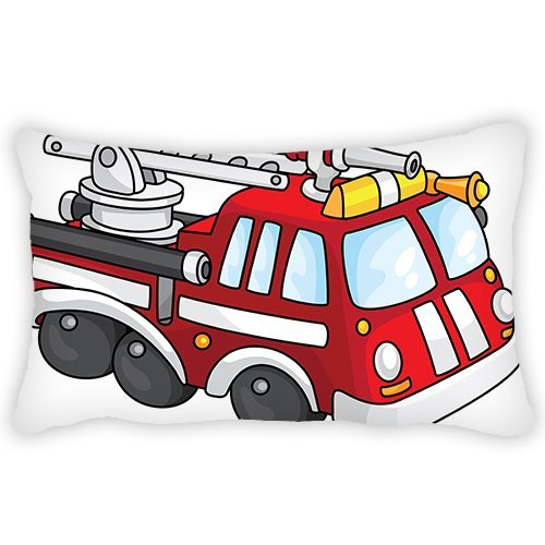 ElijahToby Toddler Pillowcase Cartoon Fire Truck 13x18 Inches Comfortable Fabric Soft and Best Quantity Hypoallergenic for Kids Boy