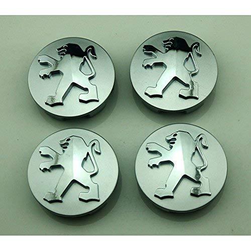 Leilims 4pcs60mm Coche Que Labra los Accesorios Insignia del Emblema de la Etiqueta engomada del Eje de Rueda Caps Cubierta del Centro de Peugeot 207 307 301 206 308 408 50