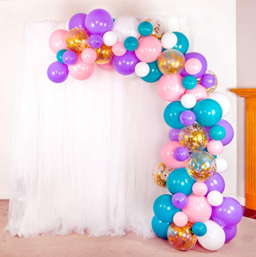 Shimmer and Confetti Premium 74 Pack Mermaid Unicorn Balloon Arch and Garland Kit with 74 Matte Pink, Purple, White, Aqua Balloons, 10 Gold Confetti Balloons, Tape, Fishing Line, Glue