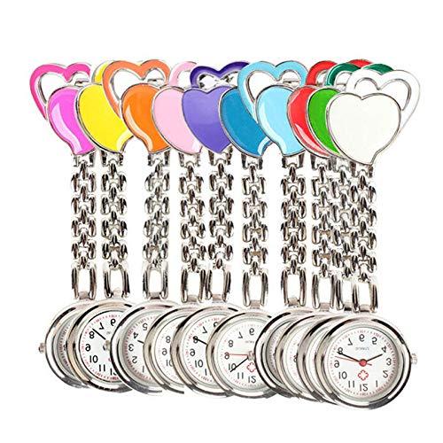 YHWW Taschenuhr Hot Sweet Heart Brust Taschenuhr Krankenschwester Tisch Quarzlegierung Uhrenkette, Blau