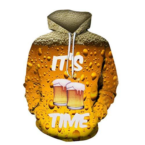 MAYOGO Oktoberfest Herren Kapuzenpullover Hoodie Sweatjacke Sweatshirt Pullover Pulli mit Kapuze, Herren Karneval Kostüm Bierdruck, 9 Farbe 5 Größen