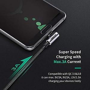 UGREEN Cable USB Tipo C 90 Grados, Cable USB 2.0 a USB C Carga Rápida, Cable USB C Codo para Xiaomi Mi A2, A3, Redmi Note 7, Redmi Note 8 Pro, Pocophone, Samsung A50, iPad Pro 2020, 2018 (2 Metros)