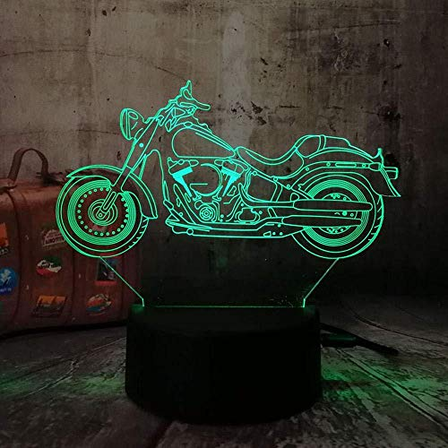 Motorcycle Scooter 3D LED Night Light 7 Color USB Touch Table Lamp Family Decoration Children Christmas Gift Lava-remote control
