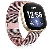 Funbiz Metal Correa Compatible con Correa Fitbit Versa 3/Correa Fitbit Sense, Pulsera de Repuesto de Metal de Acero Inoxidable con Longitud Ajustable para Mujeres Hombres, Pequeño Oro Rosa
